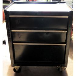 Rolling Black Metal 4 Drawer Tool Box w/ Misc Tools, Cables, etc