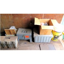 Qty 3 Tool Boxes Bins & Boxes of Tools, Lube, Paint Supplies, etc