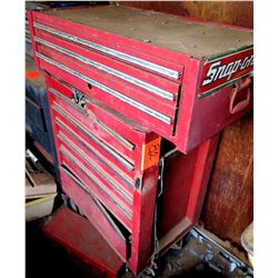 Snap-On 2 Piece Red Metal Tool Chest w/ Misc Tools in Drawers