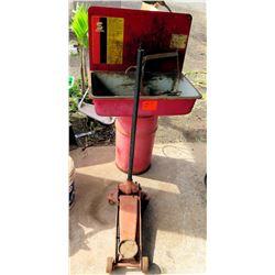 Red Metal Floor Jack w/ Parts Washer