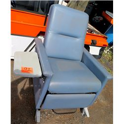 Champion Manufacturing Rolling Blue Vinyl Recliner Transporter Arm Chair