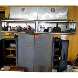 Metal 2 Door Cabinet w/ Open Diamond Plate Shelf & 2 Diamond Plate Boxes