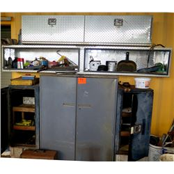 Metal 2 Door Cabinet w/ Open Diamond Plate Shelf & 2 Diamond Plate Boxes