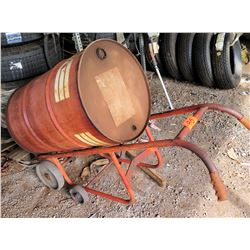 55 Gallon Drum w/ Rolling Red Metal Dolly Cart Hand Truck