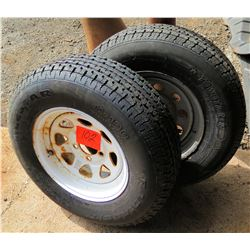 Qty 2 Towstar M-108 Tubeless ST20 T205/75R1 Trailer Tires & Rims