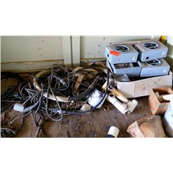 Multiple Misc Power Breaker Boxes, PVC Pipe, Cables, Air Hoses, Chains, etc