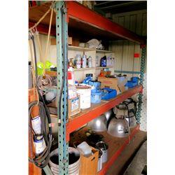 Contents of Shelf:  Gallons Paint, Rustoleum Spray, Primer, Lights, Oil, etc