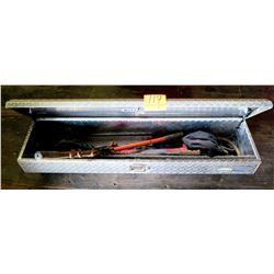 Northern Industrial Diamond Plate Truck Tool Box w/ Bolt Cutters, Misc Tools