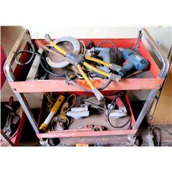 Rolling Metal 2 Tier Cart w/ Skilsaw, Black & Decker Drill, Lights, etc