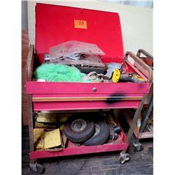 Rolling Metal 2 Tier Cart w/ Top Cover & Tools: DeWalt & Craftsman Drill, etc