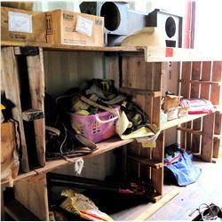 Contents of Shelf: Landscape Supplies, Nylon Tie-Down Straps, Misc Parts, etc