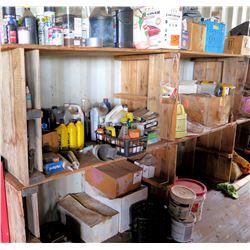 Contents of Shelf:  Oils, Fluids, Sealants, Auto Parts, etc