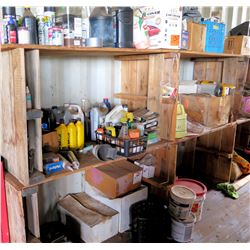 Contents of Shelf:  Oils, Fluids, Sealants, Auto Parts, etc