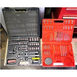 Qty 2 Hard Case Tool Sets - WorkForce Drill Bit Set & Rachet w/ Sockets Set