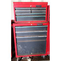2 Piece Husky Red Metal Tool Boxes w/ Misc Tools in Drawers
