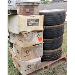 Qty 4 245/45ZR18 Tires & 4 Cases Centerline & M/T Classic Rims