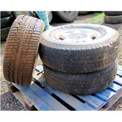 Qty 3 Firestone Wilderness AT P265/75R16 114S Tires on Rims