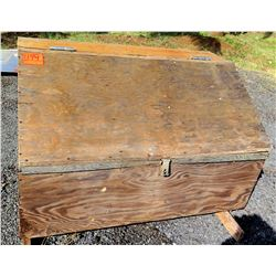 Outdoor Wooden Latched Storage Box w/ Misc Tools, Nails, Screws, etc
