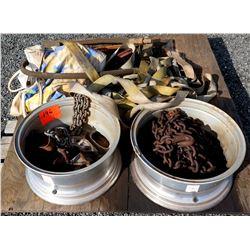 Qty 2 Truck Tire Rims w/ Chains & Nylon Tie Down Straps