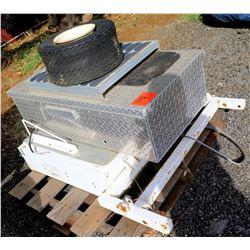 Alum-Line Diamond Plate Truck Box, White Metal Display Sign & Tire