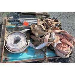Pallet Fire Hoses, Rim, Qty 3 Tires, Metal Adjustable Shelf Supports, etc