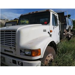 White International 4900 DT 466E Flatbed Truck & Airman Compressor on Bed