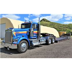 Kenworth Double Axle Truck Tractor w/ Globe Trailers Goose Neck Lowboy (Runs/Drives See Video)