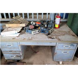 Metal 5-Drawer Shop Desk w/ Tools, Portable Vacuum, Fire Extinguisher, etc