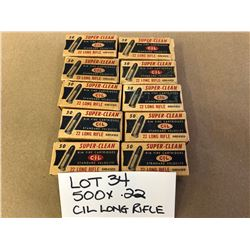 AMMO:  500 X .22 CIL LONG RIFLE
