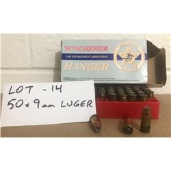 AMMO: 50 X 9 MM LUGER