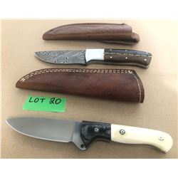 GR OF 2, HUNTING KNIVES WITH LEATHER SHEATHS
