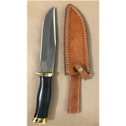 ASH CUSTOM BOWIE KNIFE W / LEATHER SHEATH