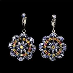 Natural Tanzanite & Fancy Sapphire 83.58 Cts Earrings