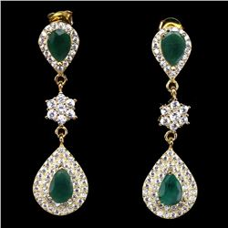 Natural Untreated Top Green Emerald Earrings