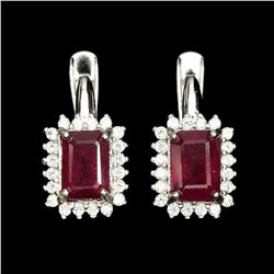 Natural 7x5mm Top Rich Red Ruby Earrings