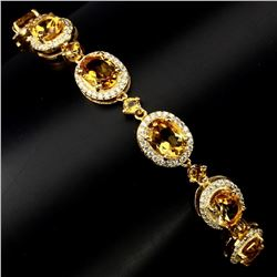 Natural 8x6mm Top Rich Yellow Citrine Bracelet