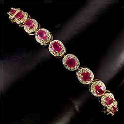 Genuine Oval 5x4mm Top Rich Red Pink Ruby Bracelet