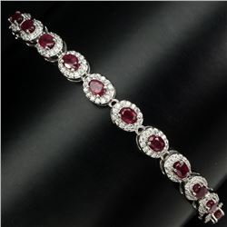 Genuine Oval Cut 4x3mm Vivid Red Ruby Bracelet