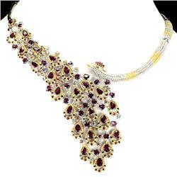 Natural Rhodolite Garnet Ruby Sapphire Necklace