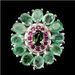 Natural Columbian Emerald Chrome Diopside Ruby Ring