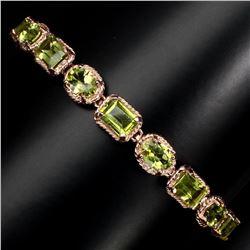 Natural 7x5 mm Top Rich Green Peridot Bracelet