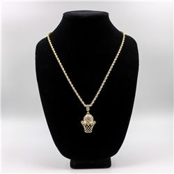 Strong 14 Kt Gold Plated Basketball Hoop Pendant