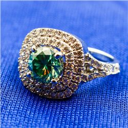 SPARKLING 2.5 CT MINT GREEN DIAMOND RING