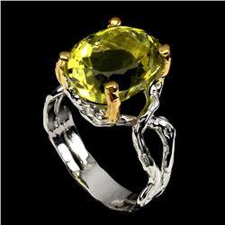 Natural Handmade Two Tone Yellow Lemon Quartz Ring