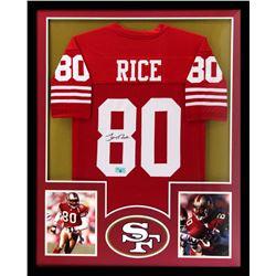 Jerry Rice Signed 34x42 Custom Framed Jersey (Radtke COA)