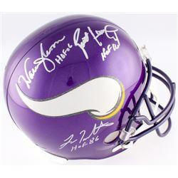 Brett Favre, Warren Moon  Fran Tarkenton Signed Vikings Full-Size Helmet (Radtke Hologram  Favre COA