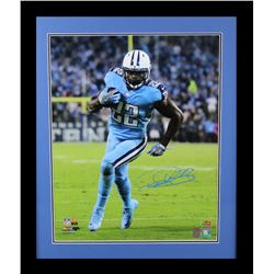 Derrick Henry Signed Titans 23x27 Custom Framed Photo Display (Radtke COA  Henry Hologram)