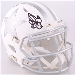 Emmitt Smith Signed Dallas Cowboys Custom Matte White ICE Speed Mini Helmet (JSA COA)