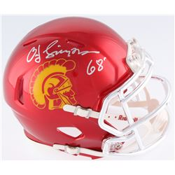 "O.J. Simpson Signed USC Trojans Mini Chrome Speed Helmet Inscribed ""Heisman 68'"" (JSA COA)"