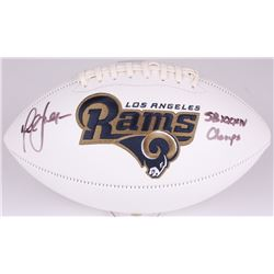 Marshall Faulk Signed Rams Logo Football Inscribed  SB XXXIV Champs  (Radtke COA)